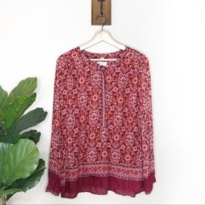 Loft coral patterned long sleeved button blouse